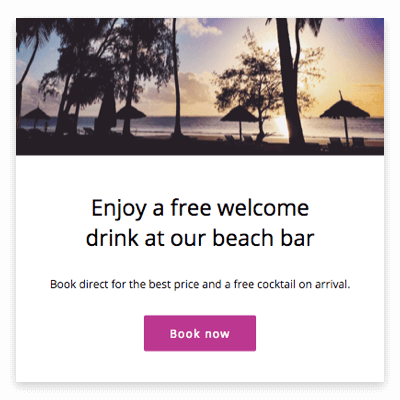 Screen grab of a Message Porter image message with a photo of a beach at sunset and the words 'Enjoy a free welcome drink at our beach bar. Book direct for the best price and a free cocktail on arrival'