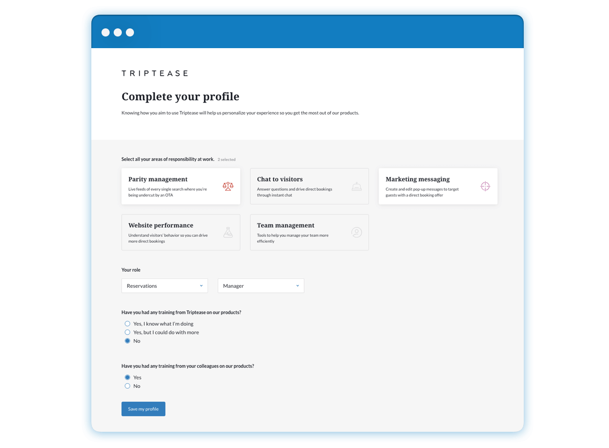 A screen grab of the Triptease Platform 'Complete your profile' page, capturing Parity management and Marketing messaging for the user