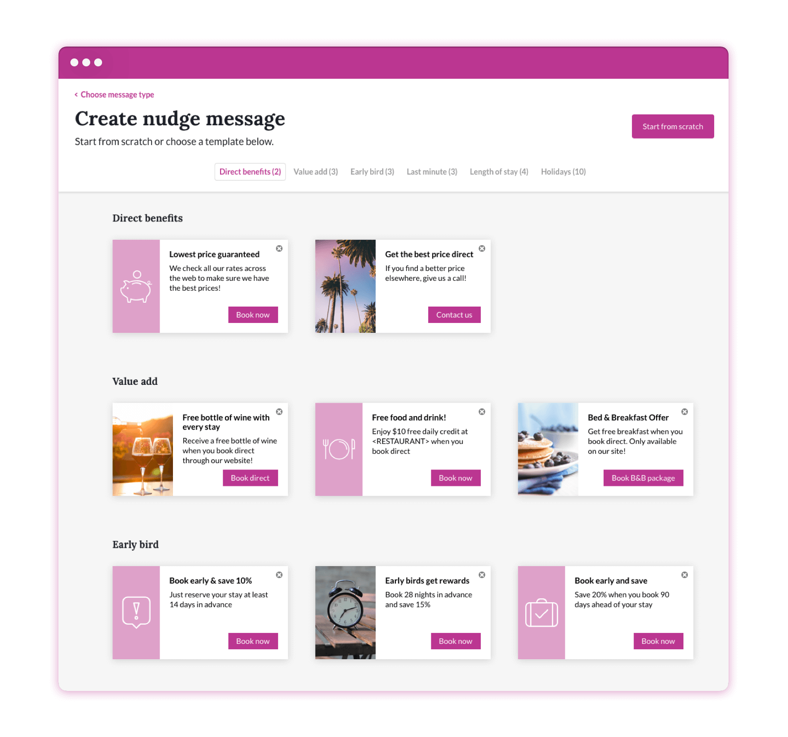 Screen grab of the Triptease Platform displaying the nudge message template selection page