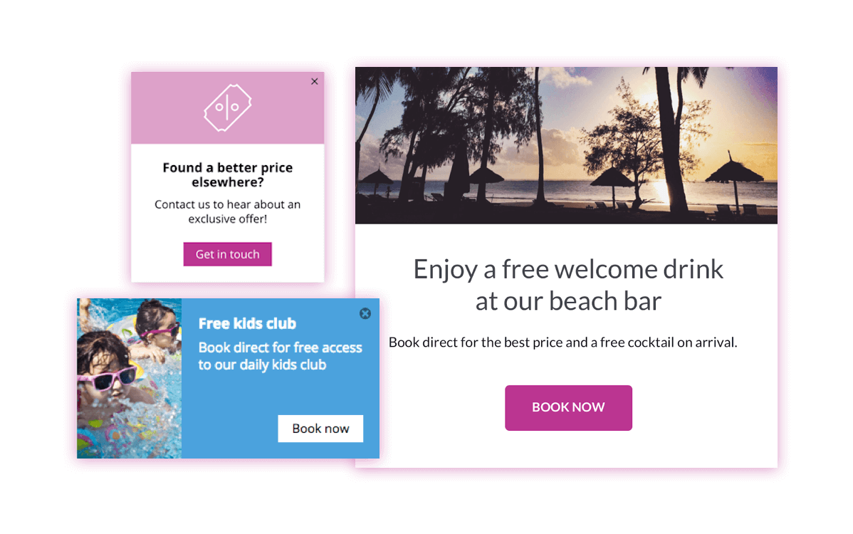 One nudge message advertising a free kids club, one Pricing Undercut Message and one full screen message advertising a free welcome drink on arrival