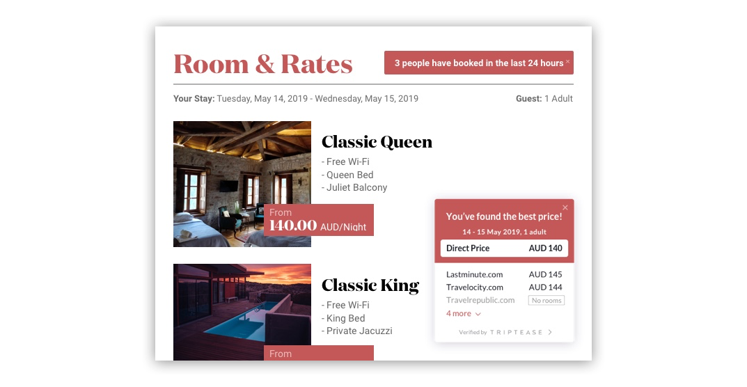 A hotel website displaying a booker notification and Price Check in marching colors