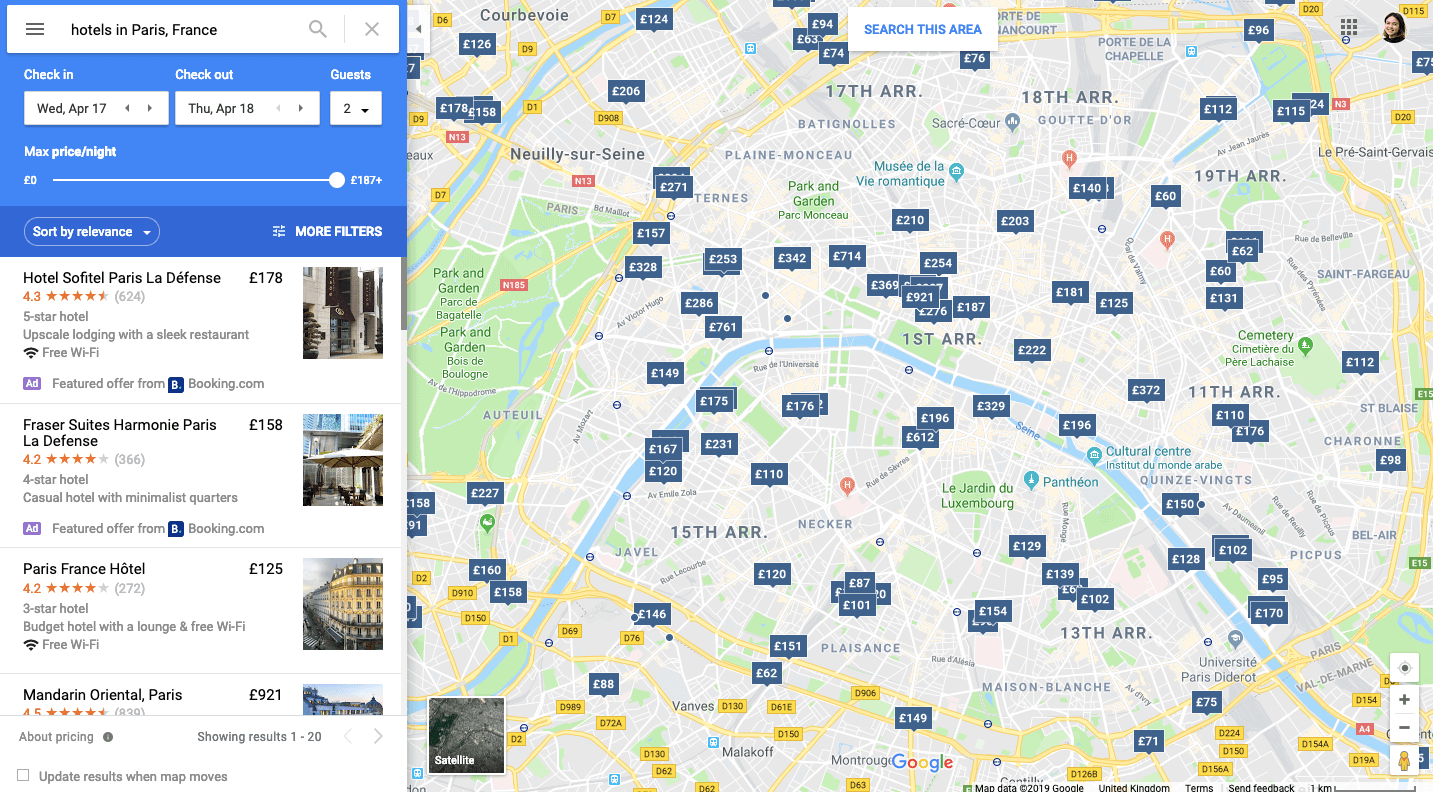 Featured offers on Google Maps
