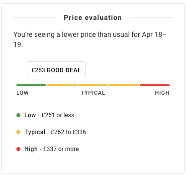 Google price evaluation