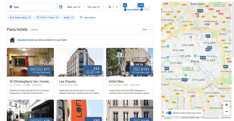 Google hotel search site
