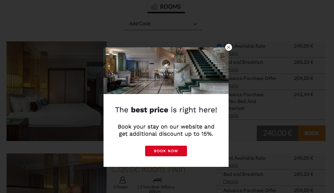 Alcron Hotel using Triptease platform