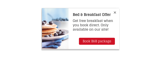 Nudge Message displaying a bed and breakfast offer