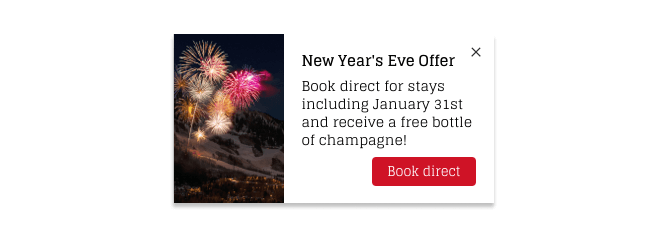 Nudge Message showing a seasonal New Year's Eve offer