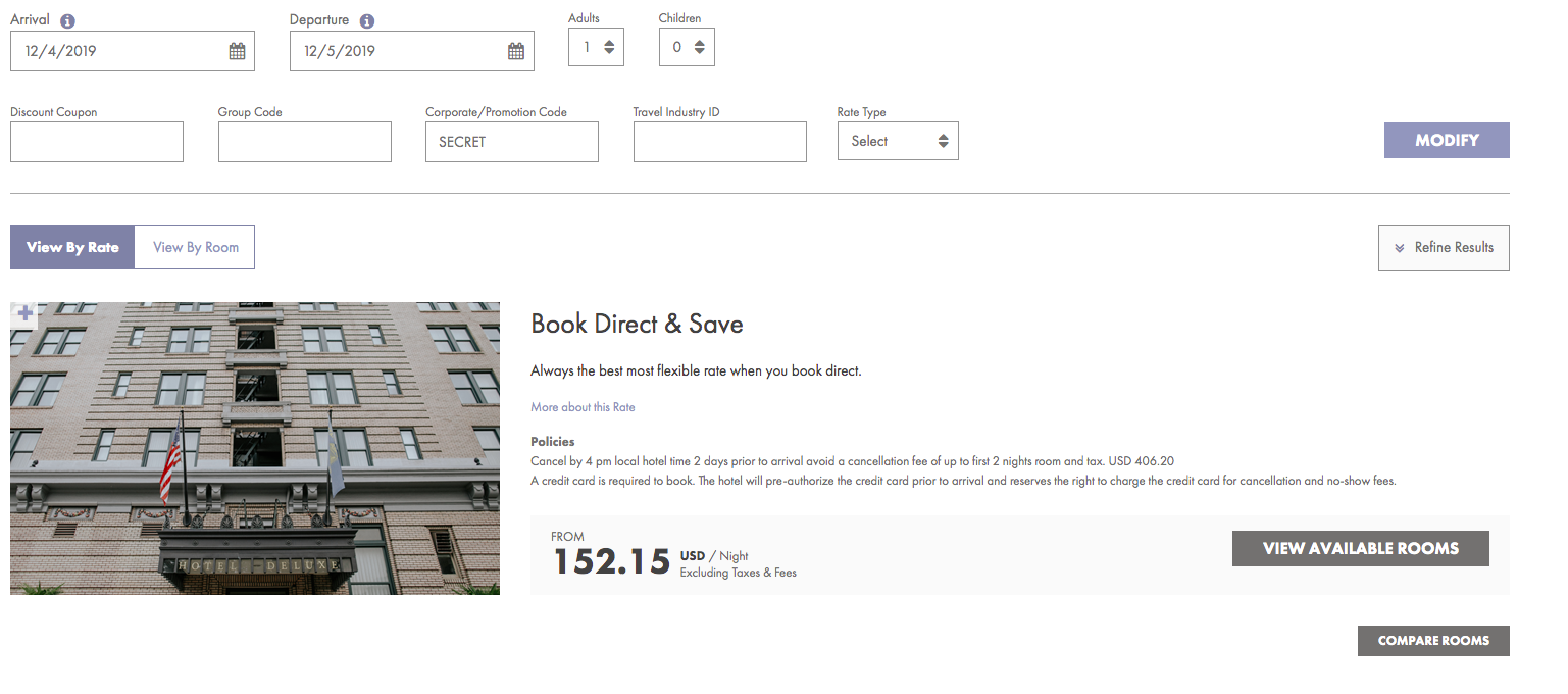 View of a hotel booking engine with their Book direct and save offer visible