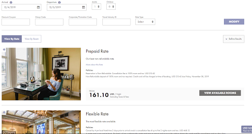 View of a hotel booking engine showing their Prepaid Rate