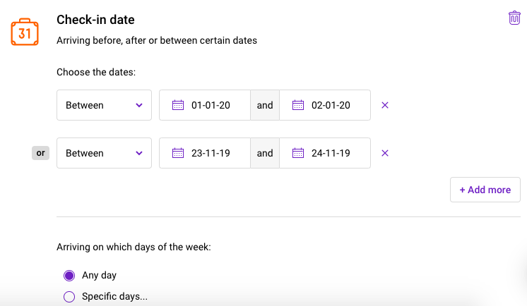 View of Triptease Message Builder showing check-in date targeting with limited dates