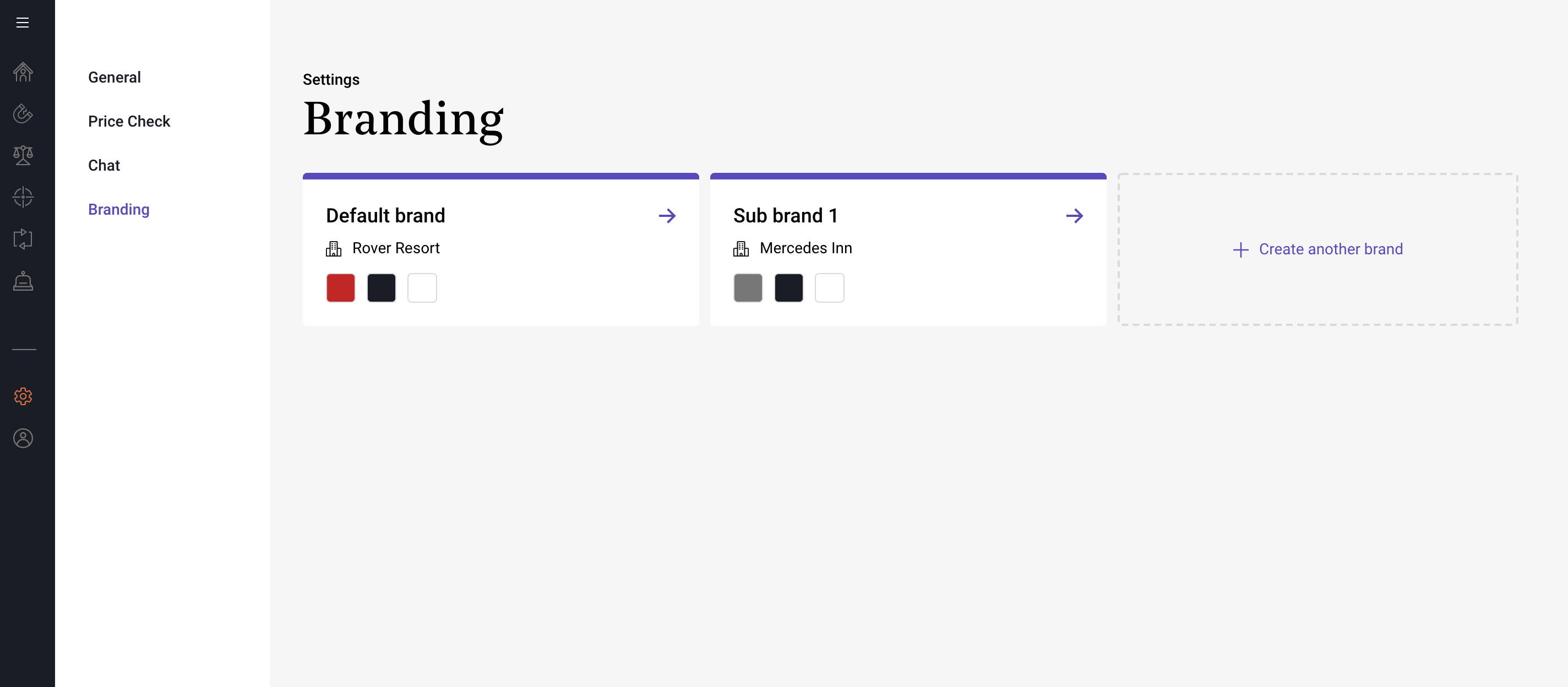 A screenshot of the Triptease Platform 'Branding' page within the 'Settings' section, showing the option to upload both a 'Default brand' and multiple 'Sub brands' for Targeted Messages