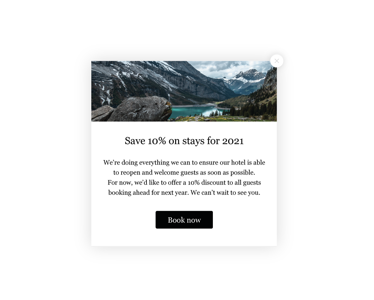 A full screen message advertising a 10% saving on stays in 2021