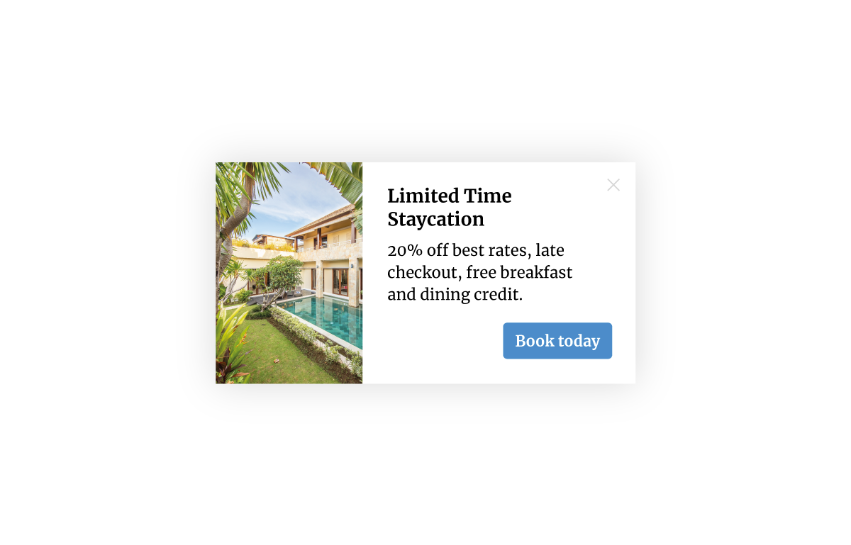 A Nudge Message advertising a Limited Time Staycation with a 20% discount